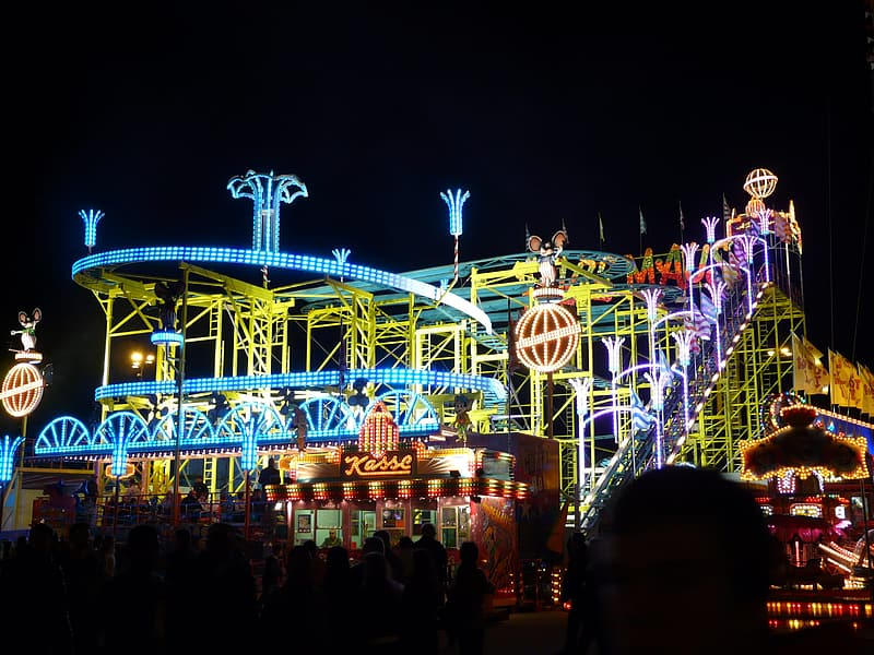 Amusement park during nighttime