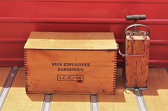 High explosives dangerous I.C.C.-14 wooden box