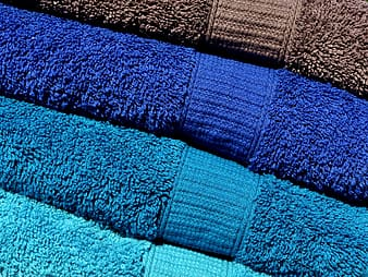 Assorted-color folded bath towels
