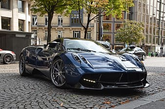 Parked blue sports car