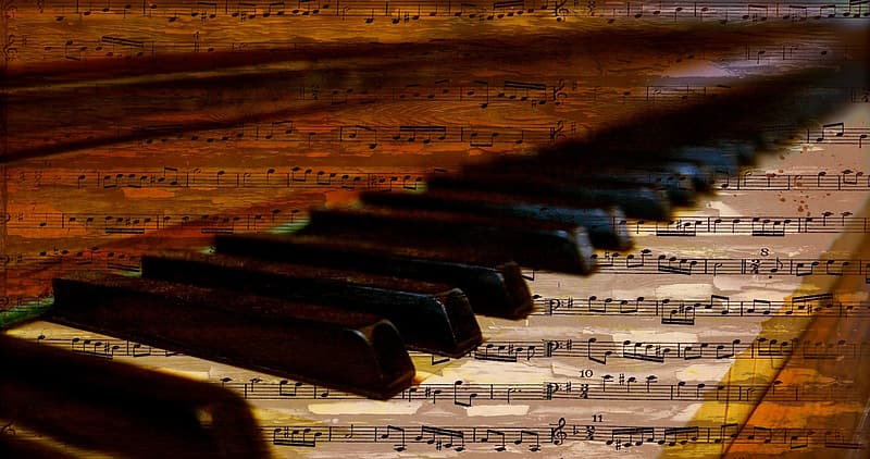 Piano with musical note wallpaper