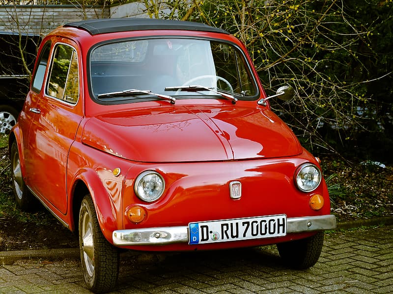 Red FIAT 500 parked beside bushes