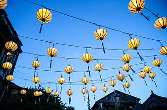 Yellow paper lanterns on roof