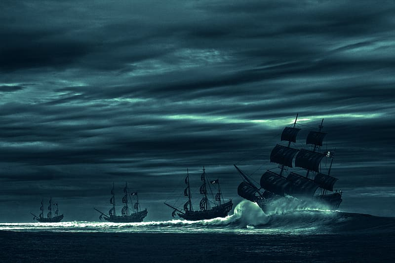 Four galleon ships on sea with waves under gray sky