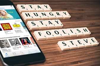 Stay hungry stay foolish Steve scrabble letters