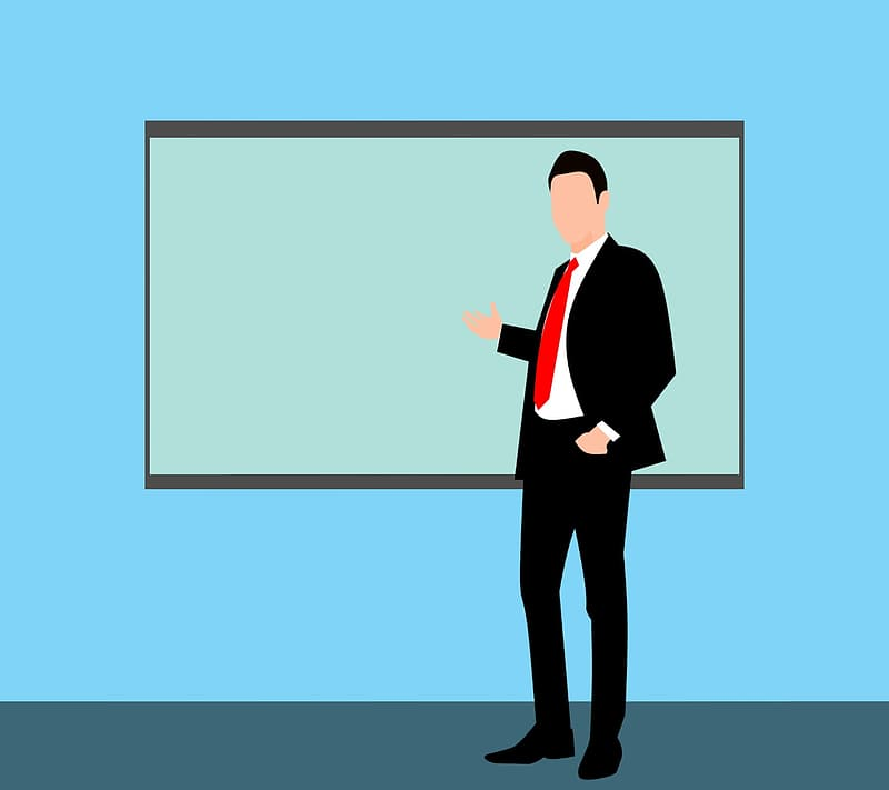 Illustration of man in front of display board - training teacher.
