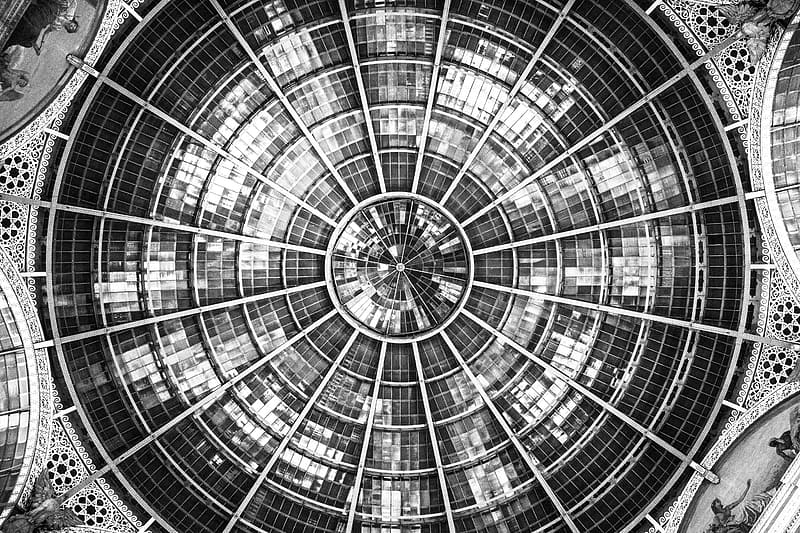 Low-angle photography of building ceiling