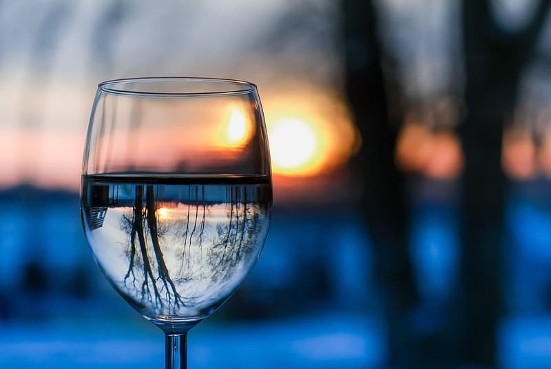 Selective focus photography of clear wine glass during golden hour
