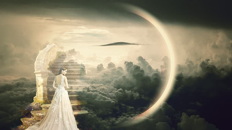 Woman in white wedding dress standing on white clouds during daytime