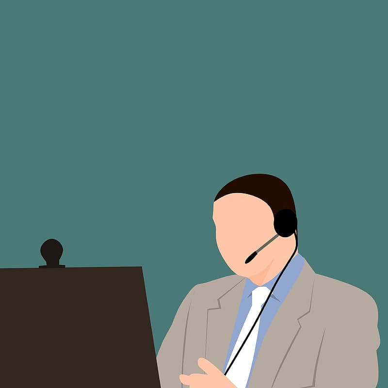 Man taking or teaching online course, or on internet call, with headset and copyspace.