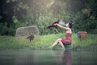 Woman on shore holding rooster