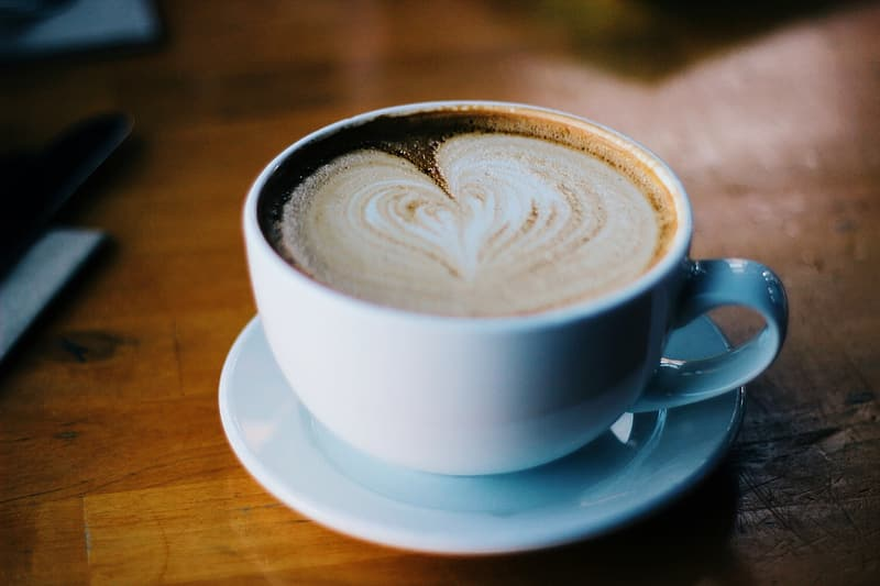 Heart latte on cup