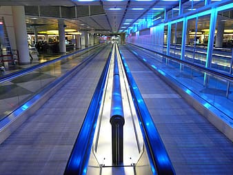 Gray travelator with blue LED lights