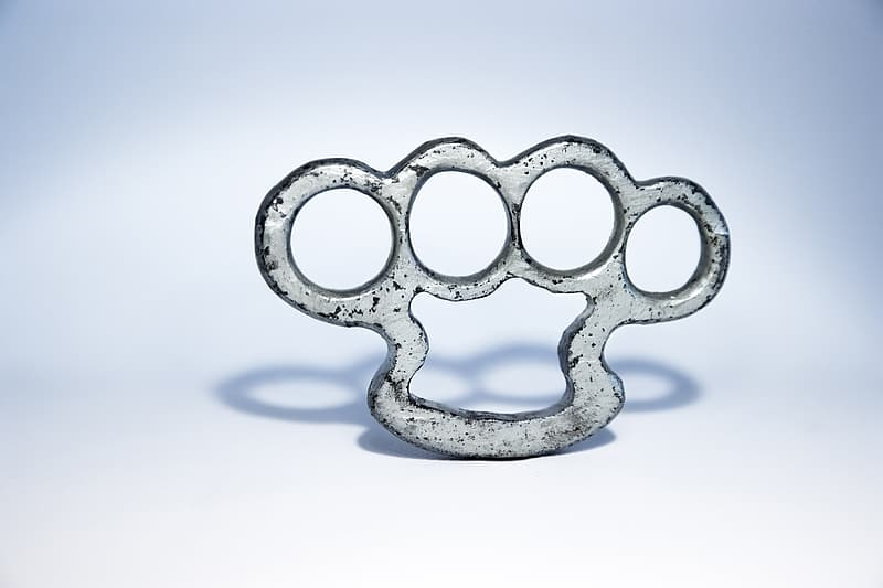 Gray metal hand knuckle