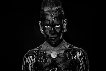 Woman with black body paint