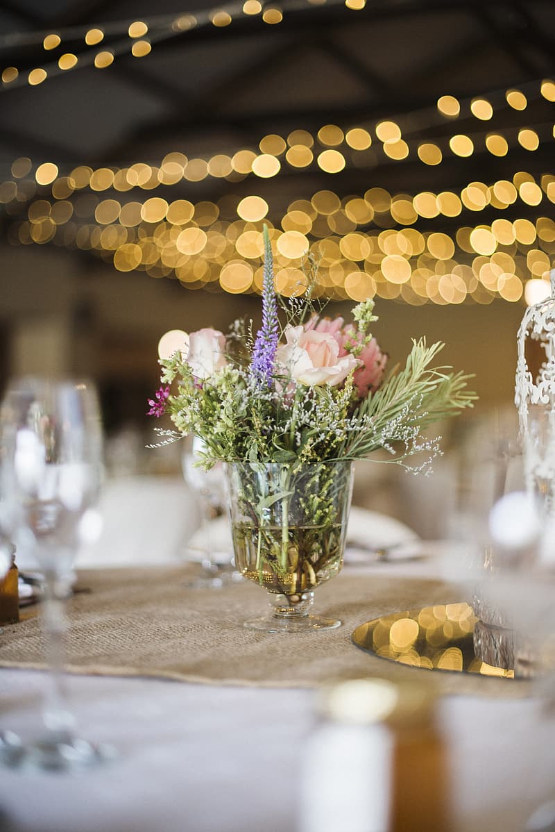 Clear glass centerpiece on table