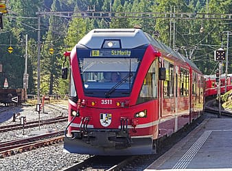 Red and gray train