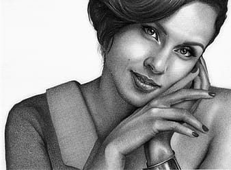Woman portrait pencil sketch