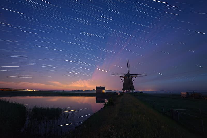 Long exposure photo of wind mill
