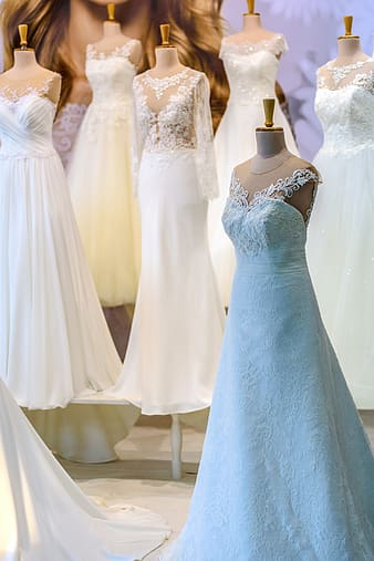 Six wedding gowns