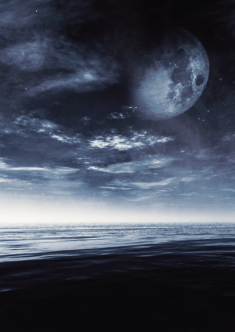 Rippling body of water under gibbous moon