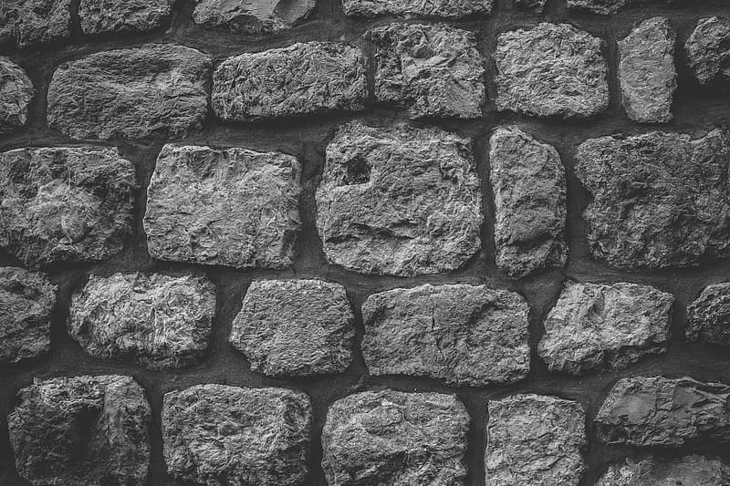 Black and white image of a textured stone wall