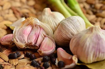 Four garlic bulbs