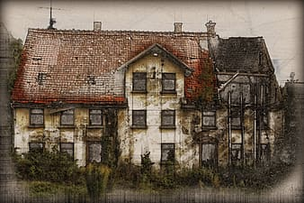 Painting of white and red concrete 2-story house