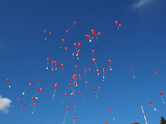 Red heart balloons flying on sky