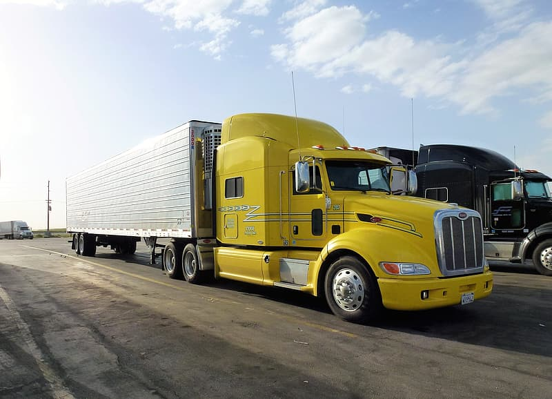 Transport, automobile, truck, vehicle, trailer, yellow, parking, truck truck, transportation, land vehicle