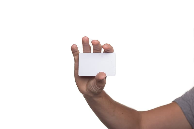 Person showing white plastic card