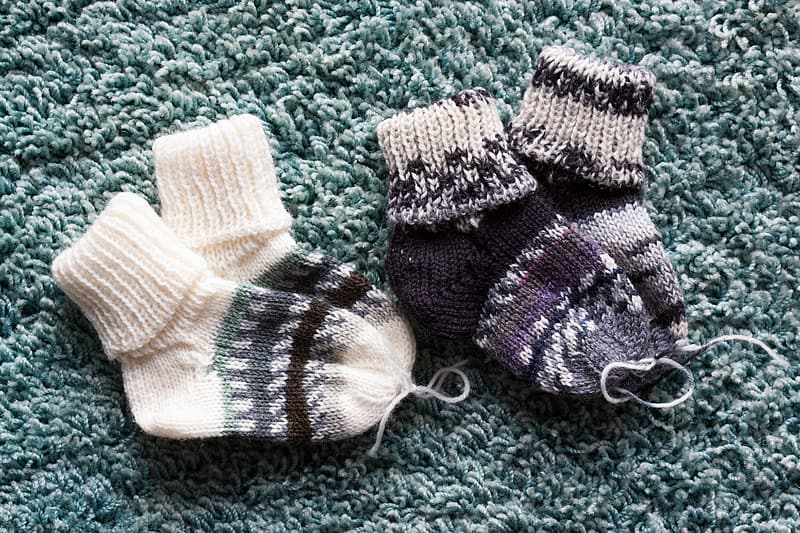 White and gray knit socks