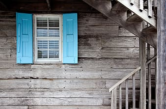 White and blue wooden window frame