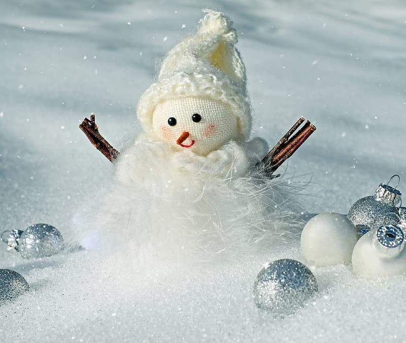 Snowman surrounded by baubles