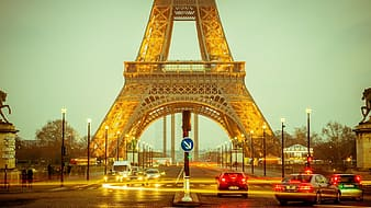 Eiffel tower surround with vehicle traveling