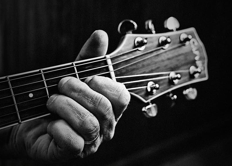 Grayscale photo of person holding guitar