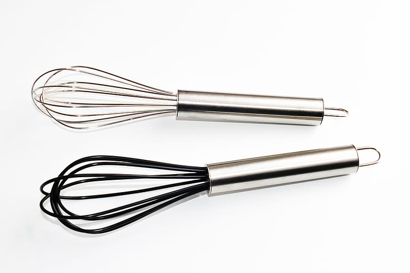 Two staineless steel hand whisk mixers
