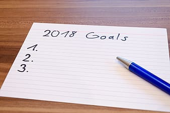 Index card with 2017 Goals writing