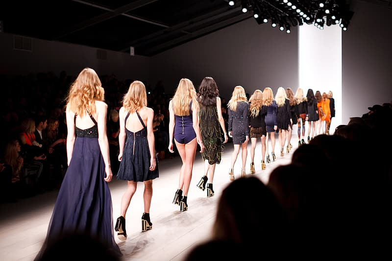 Female fashion models walking towards white lit room