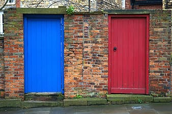 Blue and red wooden doors