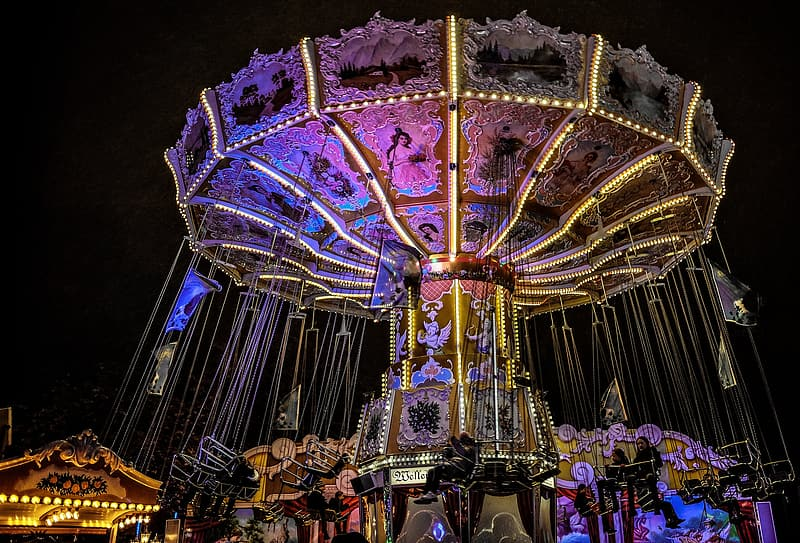 Swing carnival ride with lights turned-on