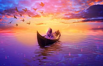 Girl in boat on body of water looking at flock of birds flying in the sky during sunset