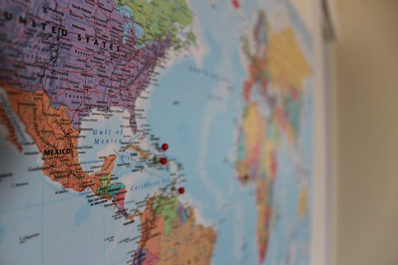 World map selective focus photography