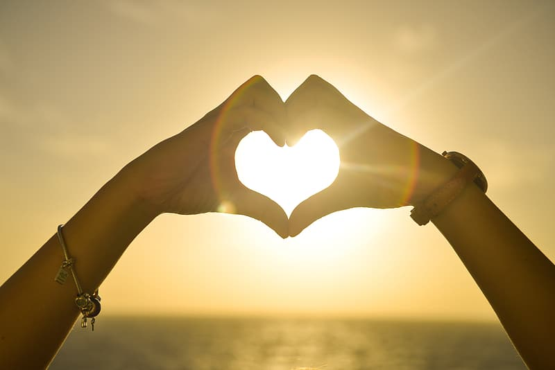 Silhouette heart human hand sign with ray of sun