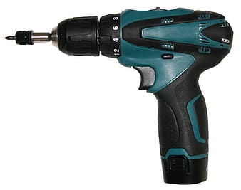 Black and teal cordless hand drill