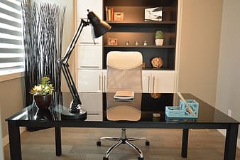 Rectangular black wooden office desk set