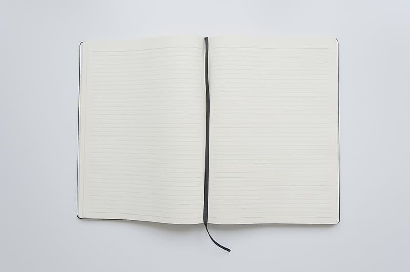 Opened white book on white surface