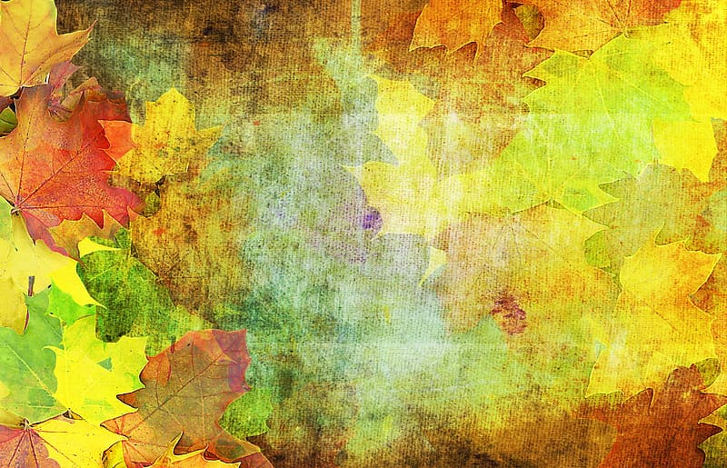 Yellow,brown and green leaves abstract painting