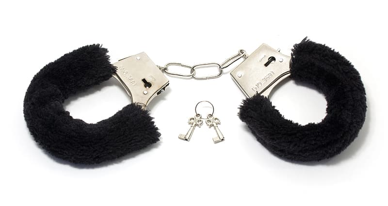 Silver and black key chain