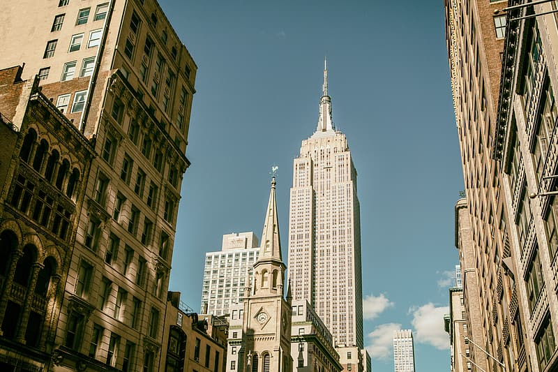 Street level shot capturing the Empire State Building in Manhattan, New York City